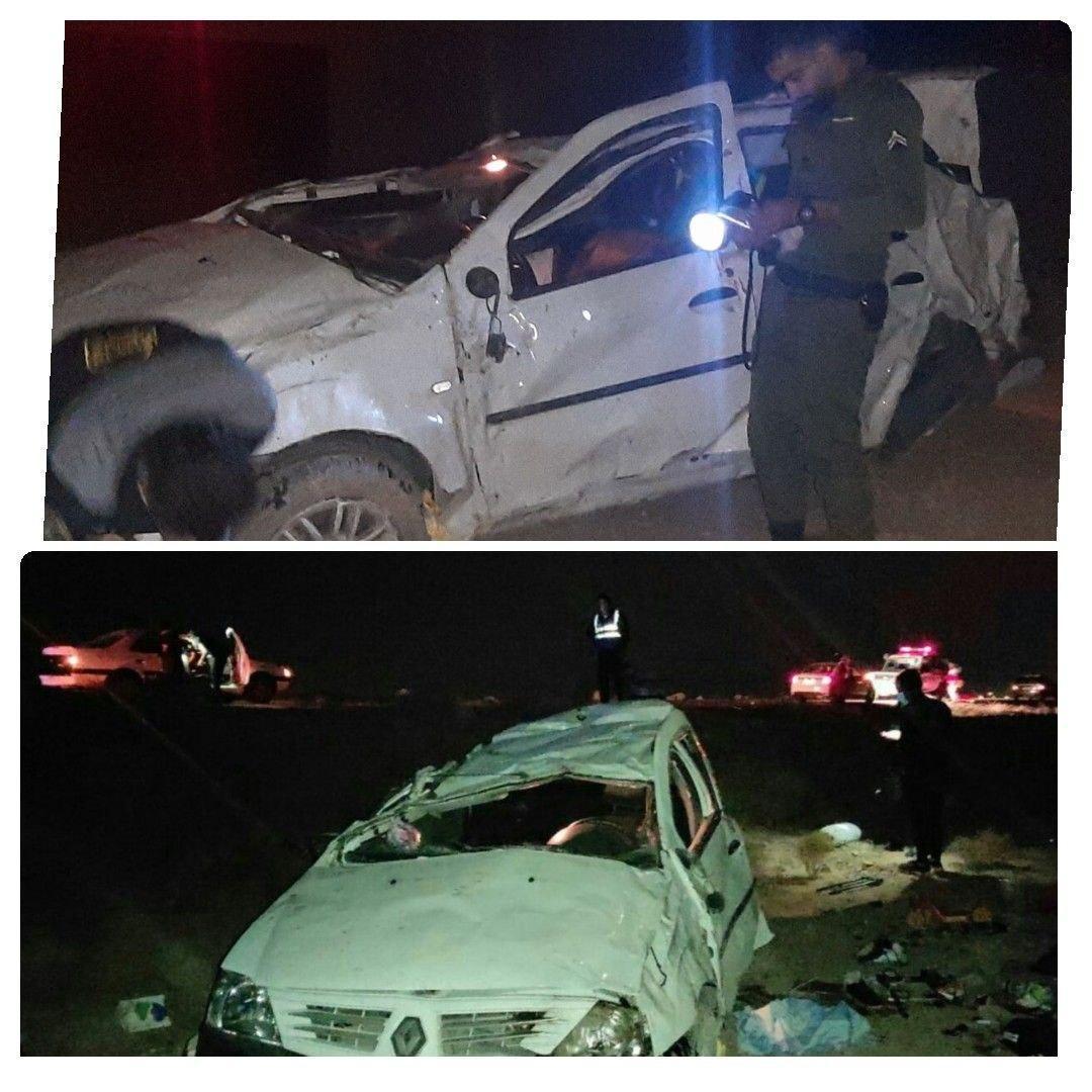 واژگونی سواری ال 90 در بادرود با سه کشته و مجروح